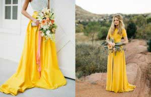 Bruiden met gele trouwjurken