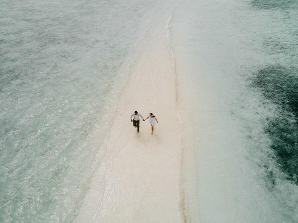 Verlovingsfoto vanuit de lucht