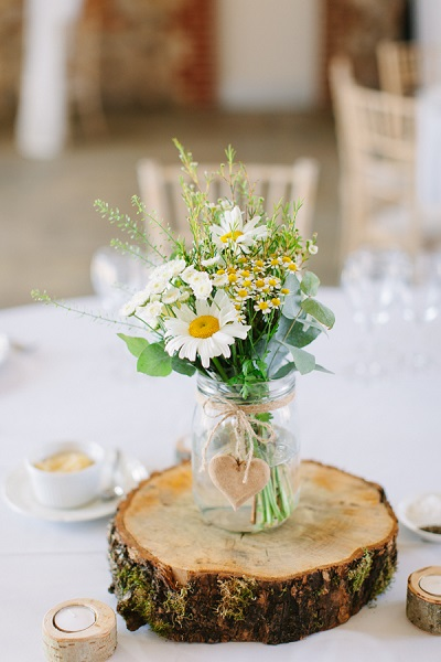 DIY bruiloft bloemstukje