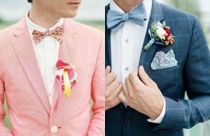 Bruidegommen met opvallende jasjes