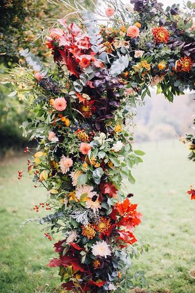 Trouwen in de herfst bloemen