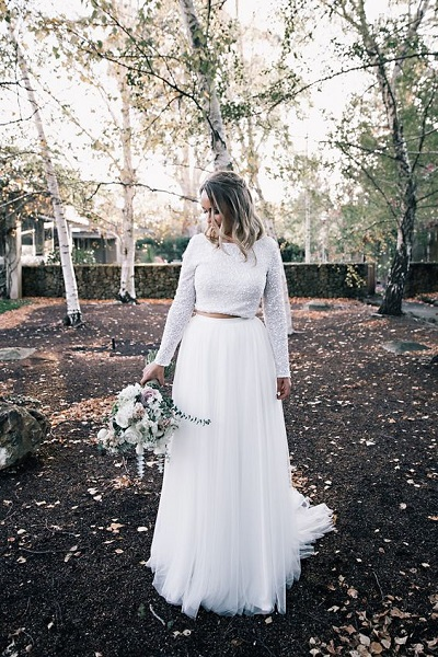 Two piece trouwjurk met lange mouwen