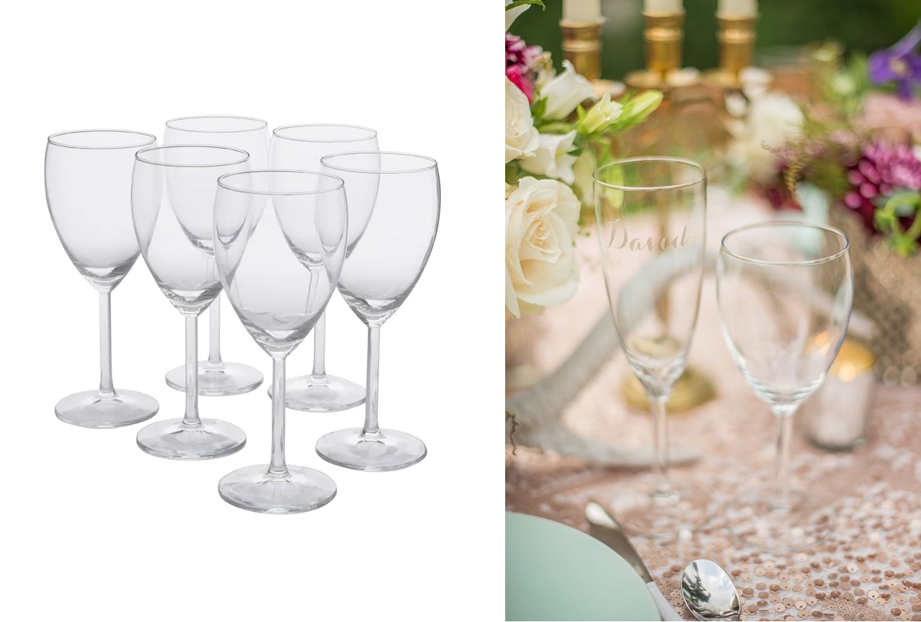 Glazen graveren voor bruiloft