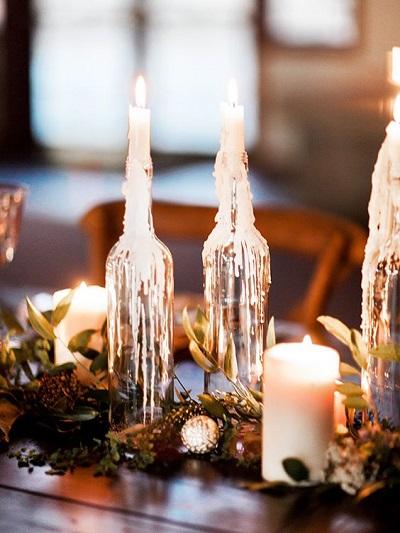 Winter bruiloft kaarsen