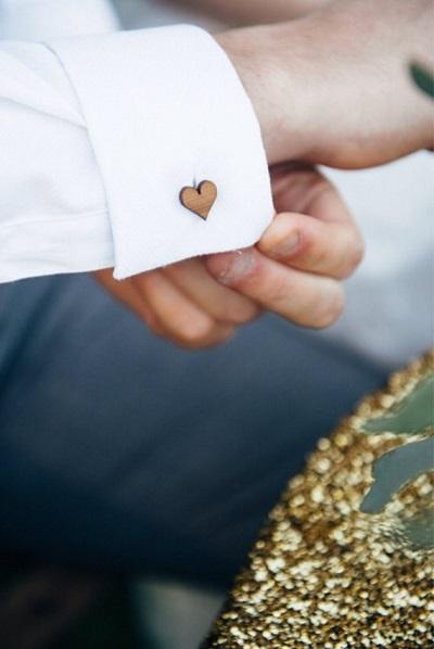 Houten manchetknopen bruidegom