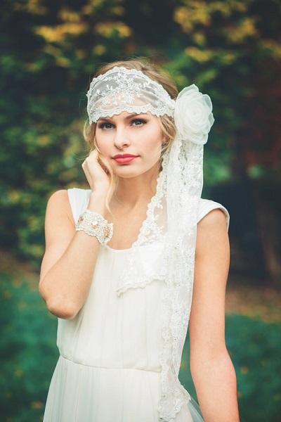 Kanten hoofdband bruid