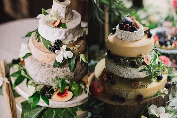 Bruidstaarten gemaakt van kaas