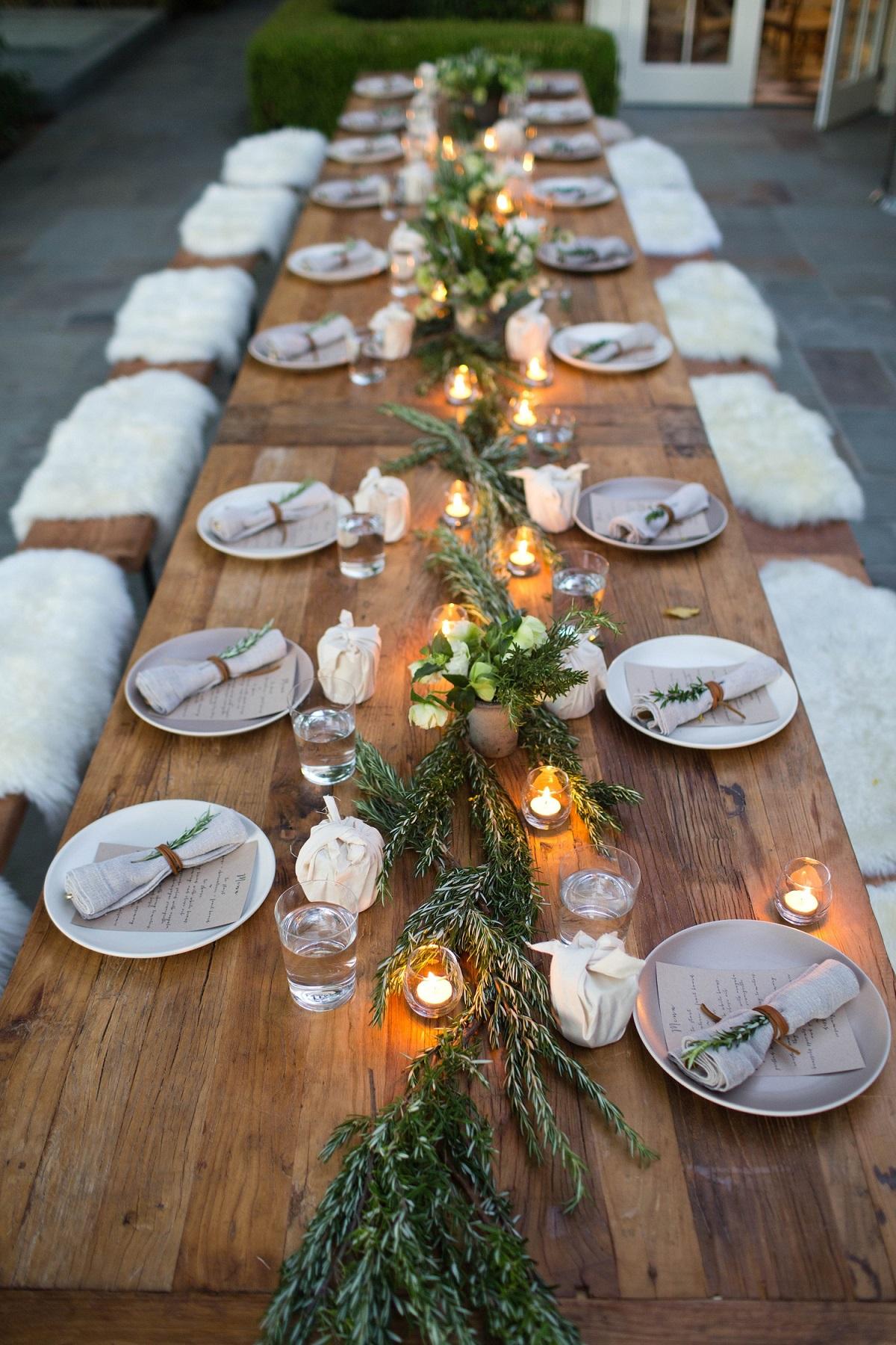 Winter bruiloft decoratie voor het diner