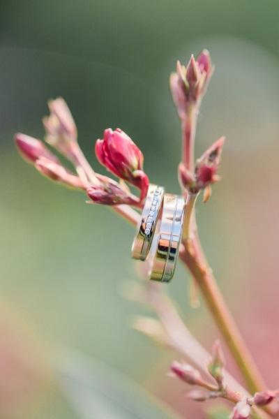 Trouwringen aan takje met bloemen
