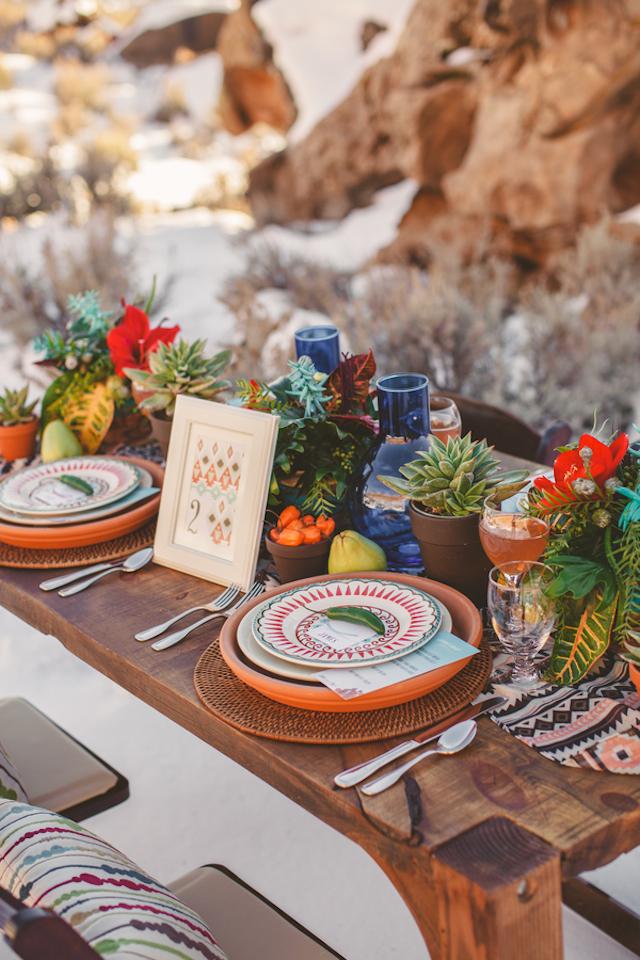 Bruiloft decoratie met Azteken printje
