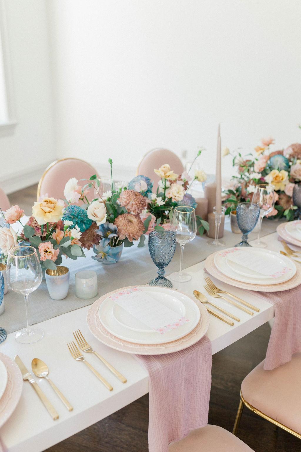 Tafel decoratie in pastel
