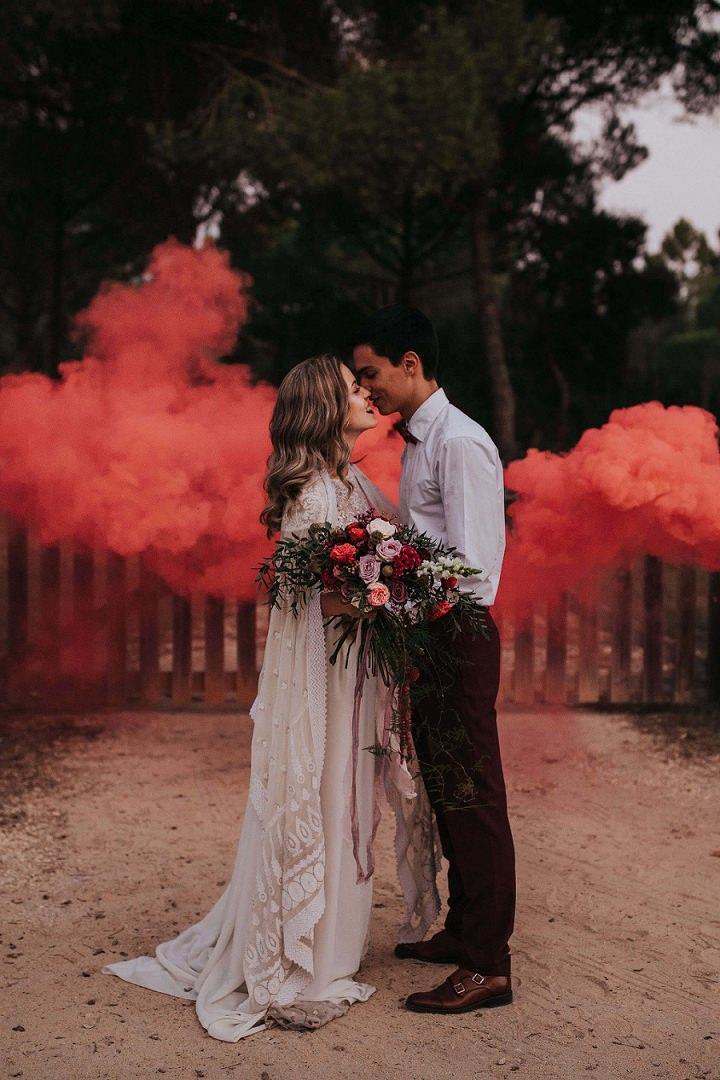 Rookbommen op bruiloft