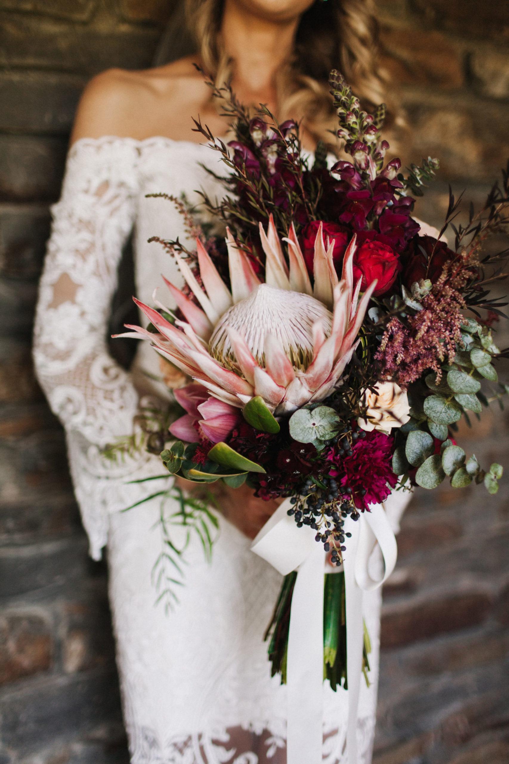 Protea boeket bruid