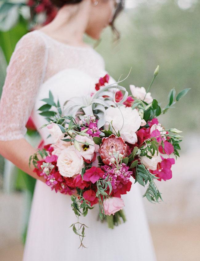 Bruidsboeket wit met roze