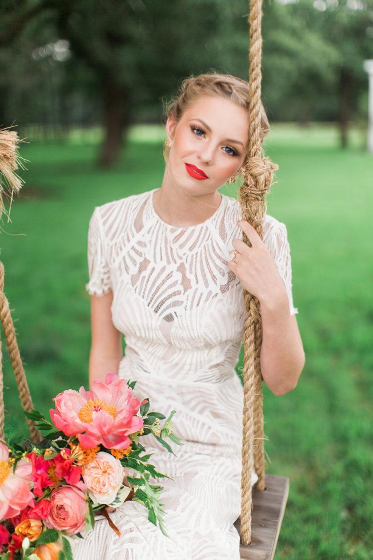 Bruid met rode lippen
