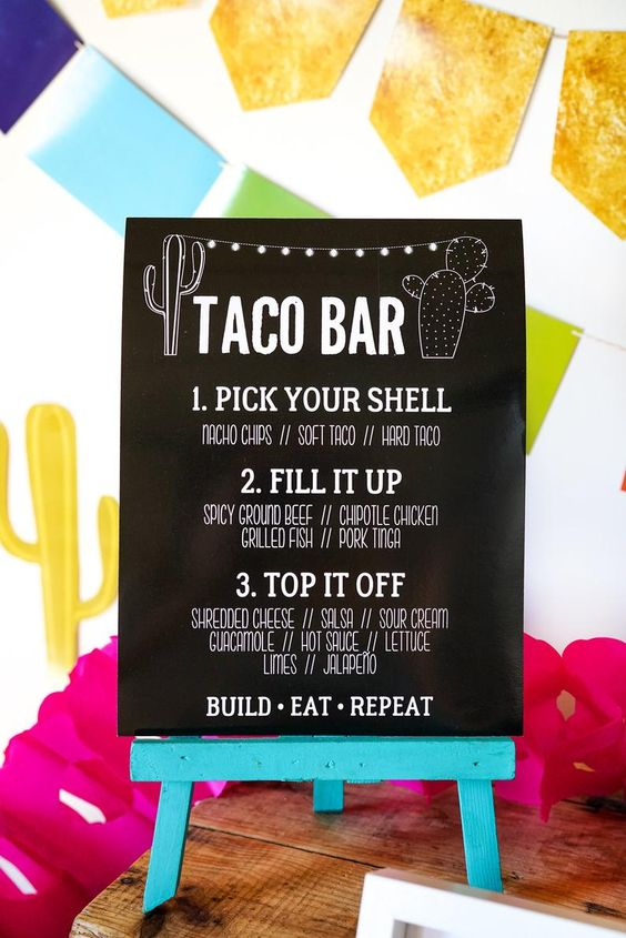 Taco bar bordje