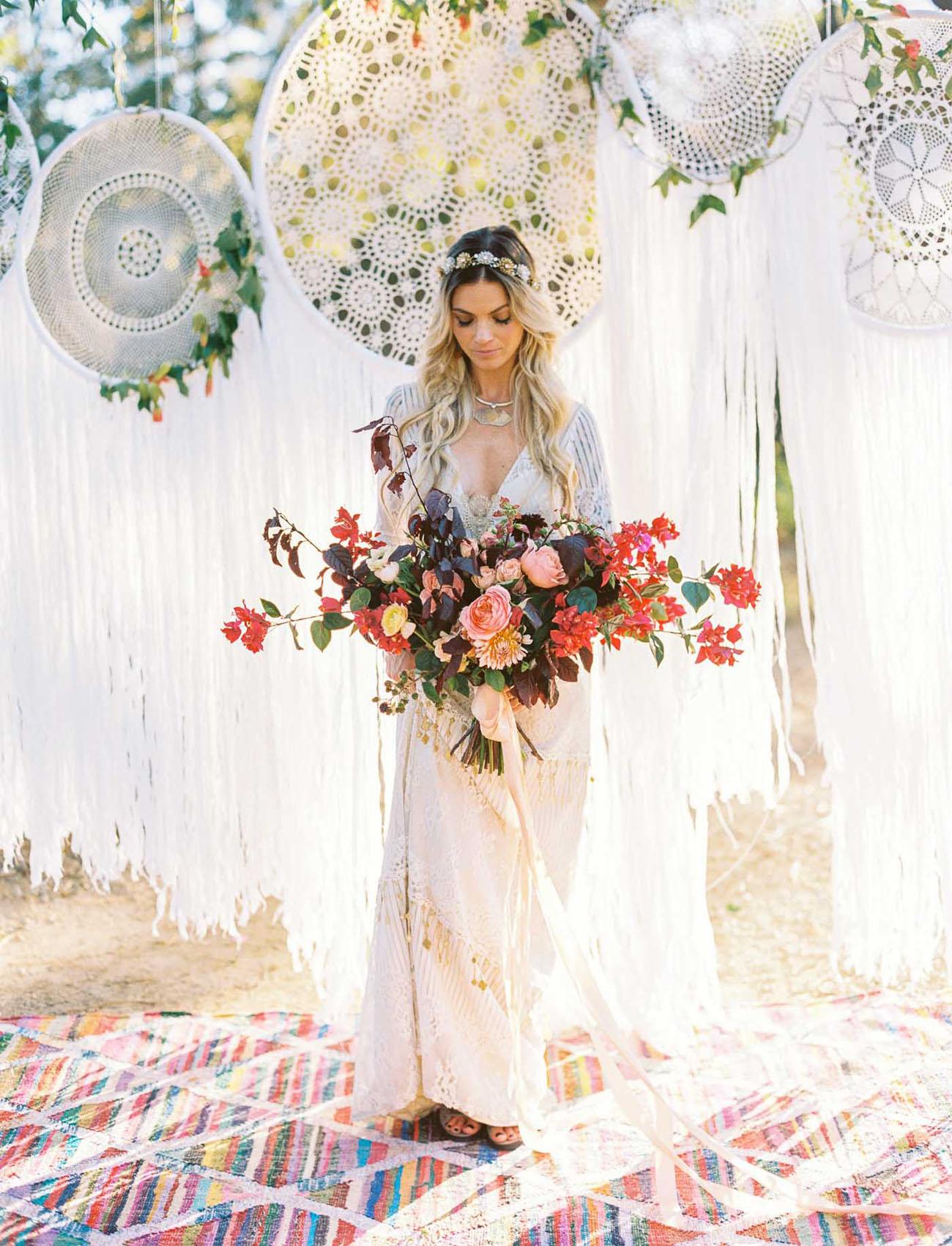 Boho chic bruid