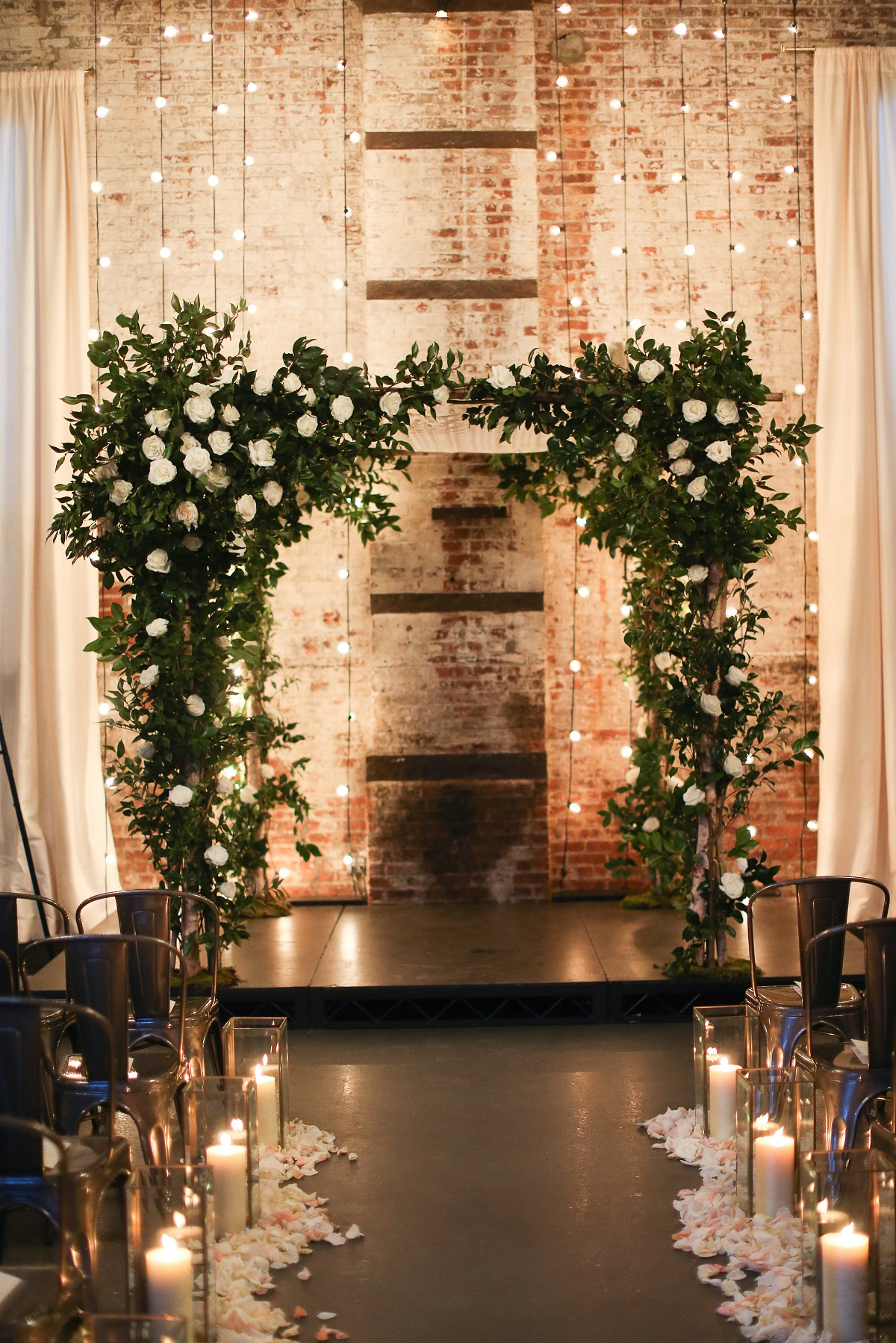 Backdrop bruiloft met lichtjes