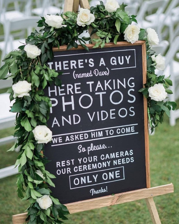 Bord bruiloft geen social media