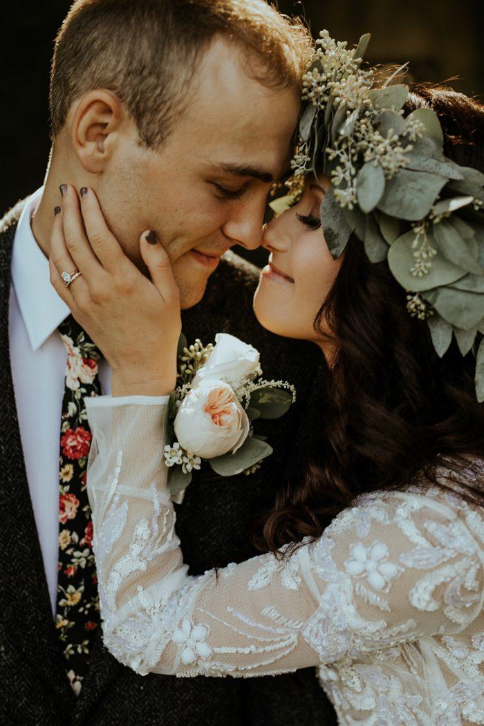 Bruiloft foto van gezichten bruidspaar