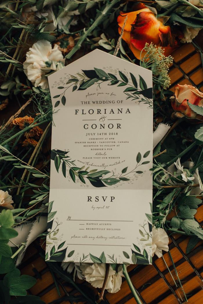 Uitnodiging met RSVP voor de bruiloft