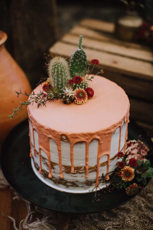 Drip cake met cactus