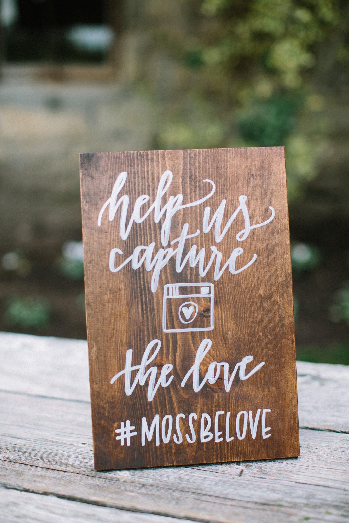 Bruiloft hashtag met de gasten delen
