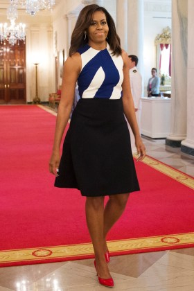 First lady Michelle Obama arrives for the 2016 National Medal for Museum and Library Service award presentations, Wednesday, June 1, 2016, in the East Room of the White House in Washington. Ten institutions from across the country received the highest award given to museums and libraries for service to the community. (AP Photo/Evan Vucci)