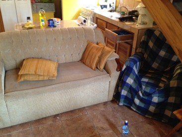 smelly beige couch with ripped up chair covered in a blanket