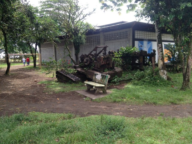 old logging machinery situated near the playground in Tortuguero village