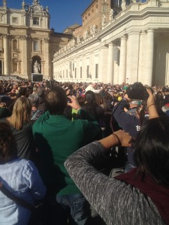 We were able to get very close to the pope as he rode through the crowd in his little white car. You can see him as the figure in white in the middle of this photo.