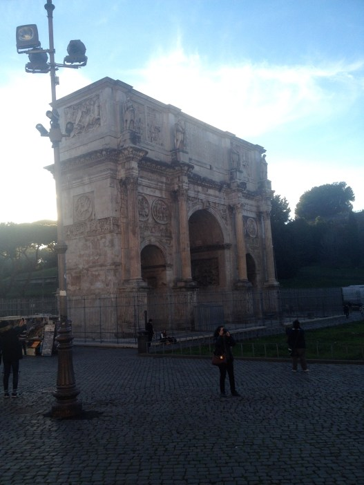 On the day we visited the Colosseum, I took this photo of the Arch of Constantine. Constantine was the first Christian Roman emperor. The arch is situated between the Colosseum and the Roman Forum.
