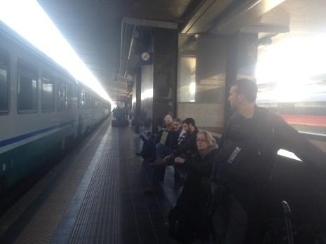 Waiting for the Trenitalia train to board.
