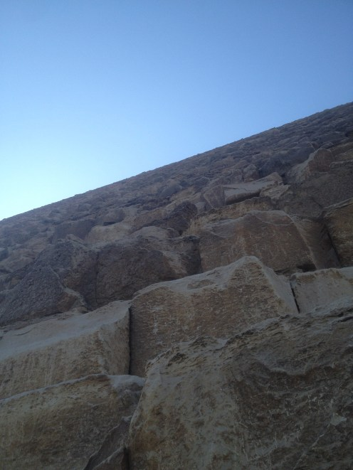 Looking up at one of the Pyramids of Giza.
