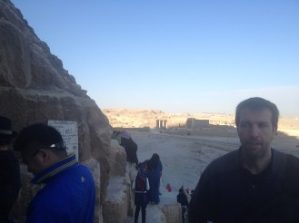 Outside the pyramids in Cairo, Egypt.