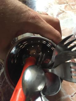 Nope...the forks and spoons are NOT clean.