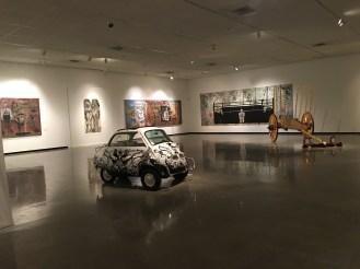 An art display inside the Tijuana Cultural Center building.