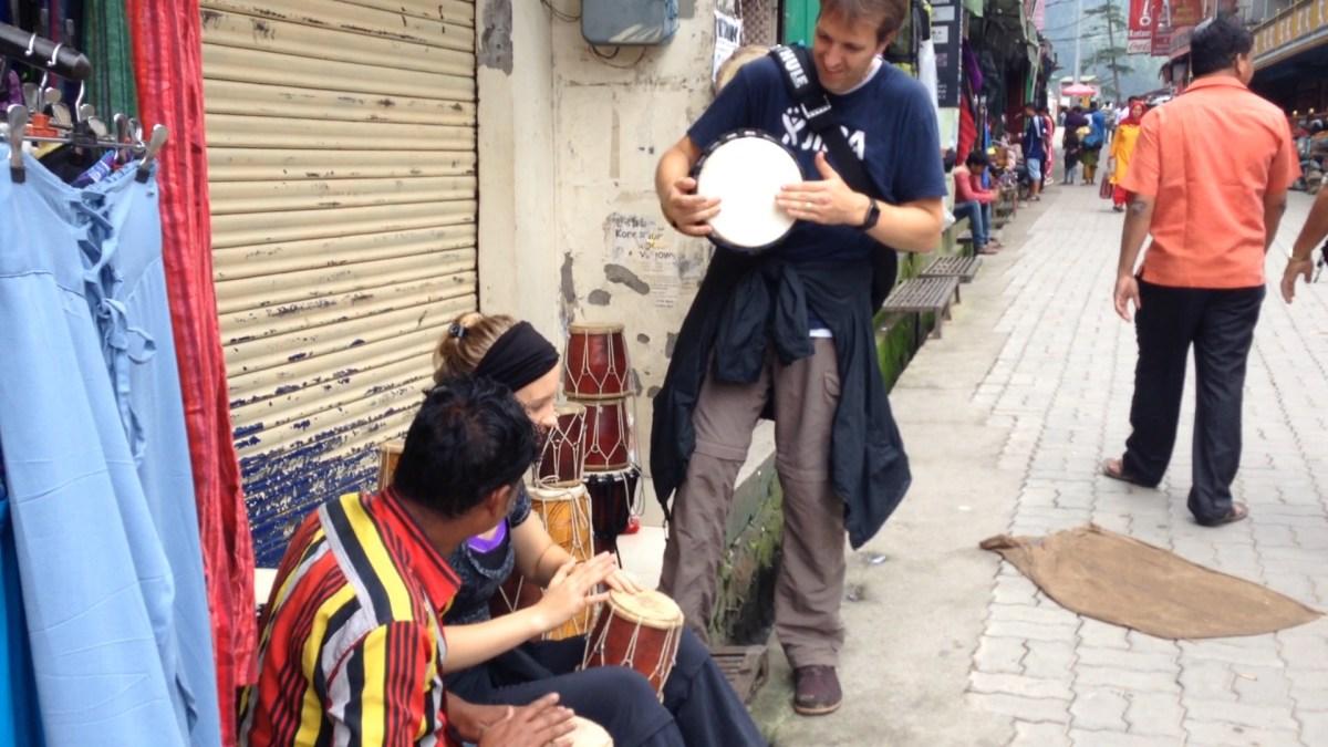 Mcleodganj: Lydi Plays Drums with Drum Salesman