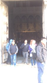 The entrance to the Church of the Holy Sepulchre.