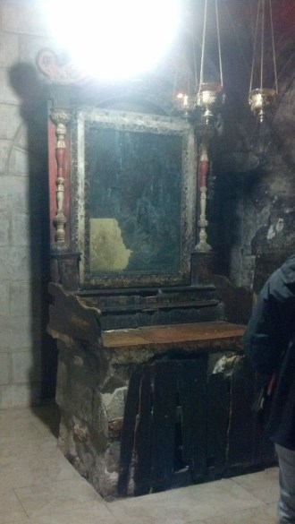 This faded mirror was downstairs under the Church of the Holy Sepulchre in what is often called the Holy Prison (where Jesus was held).