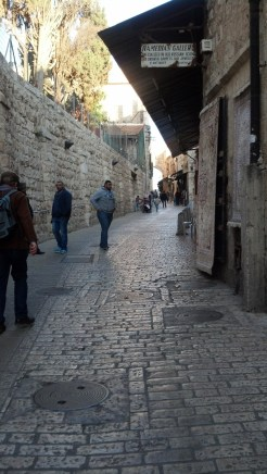 Walking along the Via Dolorosa in Jerusalem, Israel.