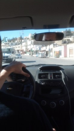 Driving into Wadi Musa, Jordan.