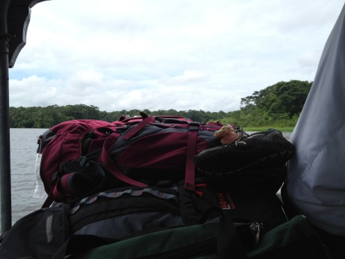 A better view of the stacked bags on the way to Tortuguero.