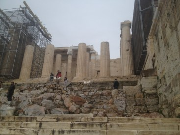 The stairs leading up to the area where the Parthenon sits.