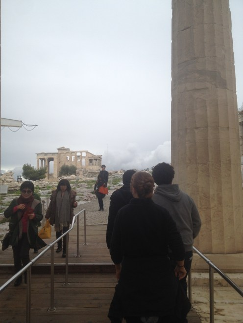 Our first view of the ruins, specifically the Erechtheion. The Parthenon was to the right behind the column.