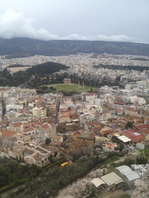 From the point with the Greek flag, we were able to look out at all of Athens. In this picture, you can see the Temple of Zeus (the green patch with ruins).