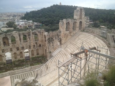 The Odeon of Herodes Atticus at the Acropolis in Athens.