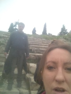 A selfie at the Theater of Dionysus at the Acropolis in Athens.