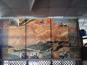 A mural-map of the Nazca Lines at the Airport.