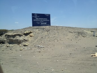 The sign leading to the Chauchilla Cemetery in Nazca, Peru.